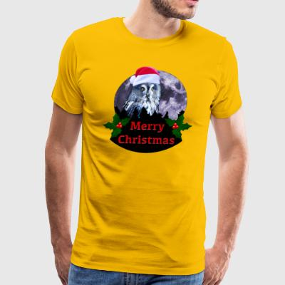 Christmas Owl and Moon - Men's Premium T-Shirt