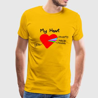 Heart Pie Chart Funny Love Gift Valentine - Men's Premium T-Shirt
