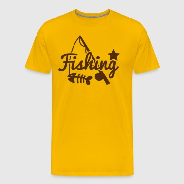 FISHING star with rod and fish bones - Men's Premium T-Shirt