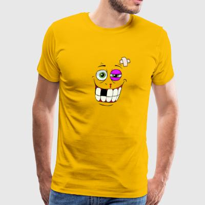 Smiley Beat up Monster Face T Shirt - Men's Premium T-Shirt