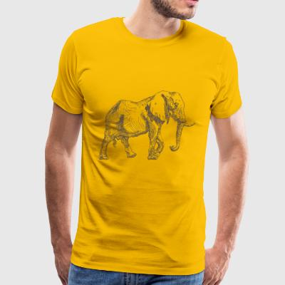 Elephant animal wildlife vector sketch image funny - Men's Premium T-Shirt