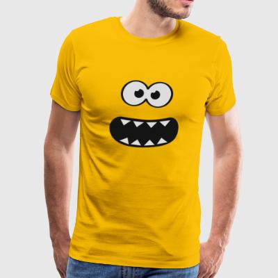 Funny Monster Smiley Om Nom Nom Style Face blue - Men's Premium T-Shirt