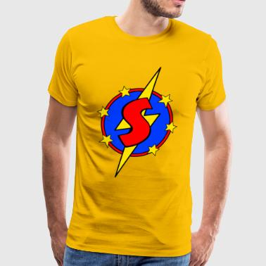 My Little Super Hero Kids & Baby Letter S - Men's Premium T-Shirt