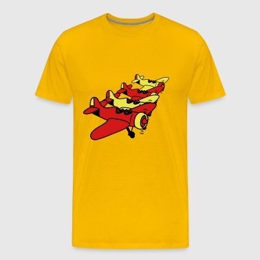 Propeller plane flying formation - Men's Premium T-Shirt