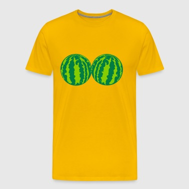 2 melons watermelon bosom breasts balls boobs funn - Men's Premium T-Shirt