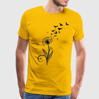 Dandelion with flying birds. - Men's Premium T-Shirt