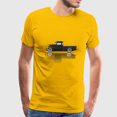 47 53 Black Chevy Truck with Flames - Men's Premium T-Shirt