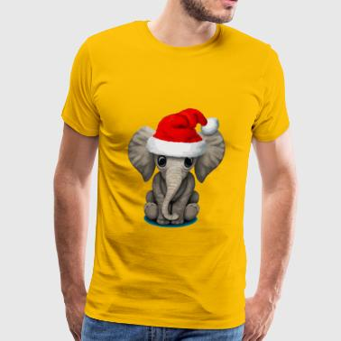 Baby Elephant Wearing a Santa Hat - Men's Premium T-Shirt