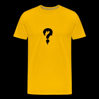 Black Question Drop Symbol Humour Logo - Men's Premium T-Shirt