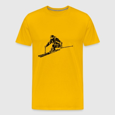 Skiers on the ski slopes in a sporty and fast way - Men's Premium T-Shirt