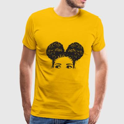 Pony Tail Girl Black Afro Female Cute Hair Style - Men's Premium T-Shirt
