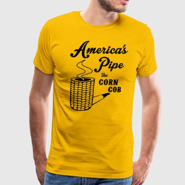 Smoking Pipe Americas Pipe the Corn Cob - Men's Premium T-Shirt