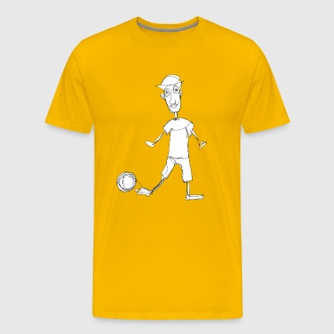 Footballer, hand painted by one line - Men's Premium T-Shirt