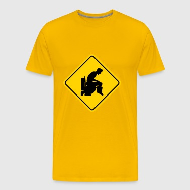 Warning sign badge logo caution caution danger zon - Men's Premium T-Shirt