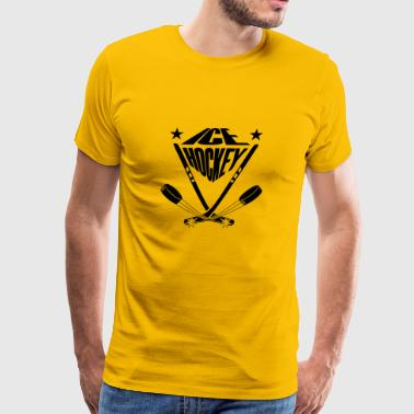 Ice hockey sticks crossbred and ice skates puck - Men's Premium T-Shirt