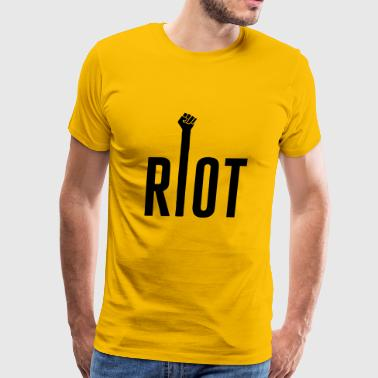 Riot Typography with Raised Fist - Men's Premium T-Shirt