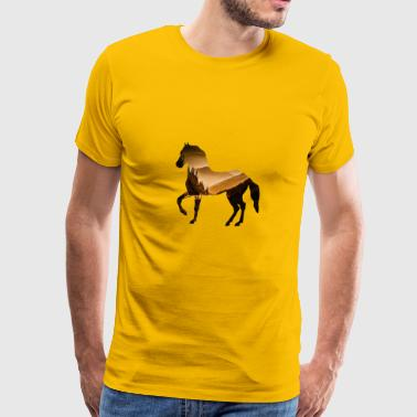 Horse Riding Rocky Mountains nature wild romantic - Men's Premium T-Shirt