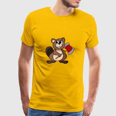 Beaver With Axe - Men's Premium T-Shirt