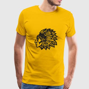Cherokee Indian Mascot Feather Hairdresser Chief - Men's Premium T-Shirt