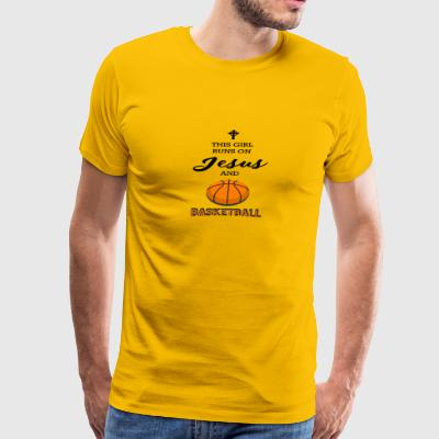 This Girl Runs On Jesus And Basketball - Men's Premium T-Shirt