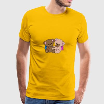 Cute teddy bear Teddy in love cuddling - Men's Premium T-Shirt