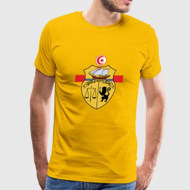 Tunisia Emblem over Flag Colors Sporty Design - Men's Premium T-Shirt