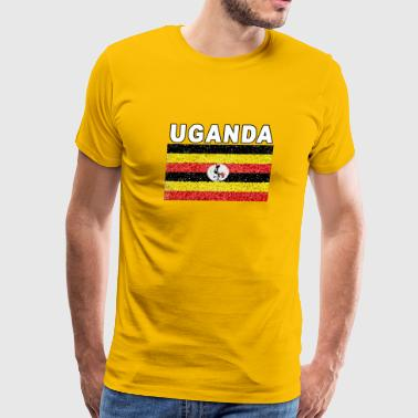 Uganda National Flag Stained Glass Effect Deluxe - Men's Premium T-Shirt