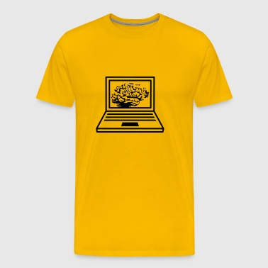 computer laptop notebook pc write thinking screen  - Men's Premium T-Shirt