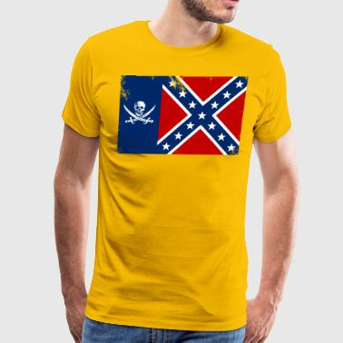 Pirate Texas Confederate Flag - Men's Premium T-Shirt