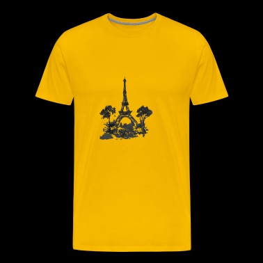 Torre Eiffel Preta Watercollor - Men's Premium T-Shirt