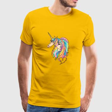 Sweet girl and unicorn drawing - Men's Premium T-Shirt