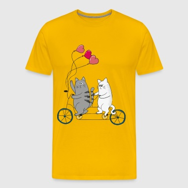 Cats on a bicycle - Men's Premium T-Shirt