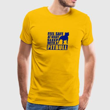 Feel Safe at Night Sleep With a Pitbull - Men's Premium T-Shirt