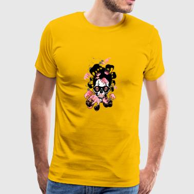 skull pipe hipster elephant pink smoking - Men's Premium T-Shirt