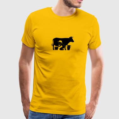 A Farmer Milking A Cow - Men's Premium T-Shirt