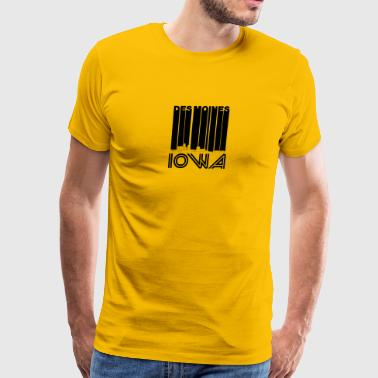 Retro Des Moines Iowa Skyline - Men's Premium T-Shirt