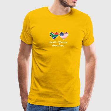 South African American Flag Hearts - Men's Premium T-Shirt