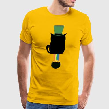 St. Patricks Day Cat Shit Luck - Gold with Rainbow - Men's Premium T-Shirt