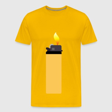 Yellow lighter with flame - Men's Premium T-Shirt
