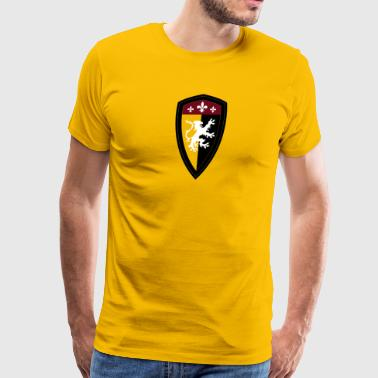 Medieval lion shield heraldic vector illustration - Men's Premium T-Shirt