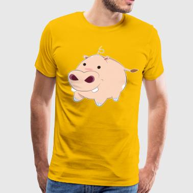 Happy Cartoon Baby Hippo - Men's Premium T-Shirt