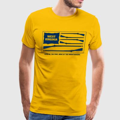 West Virginia Mountaineers Blue Musket Flag - Men's Premium T-Shirt