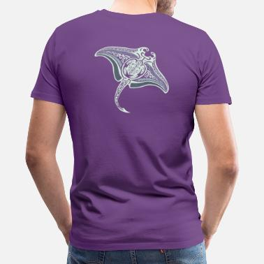 Polynesian Tribal Tattoo Tribal Manta Ray - Men's Premium T-Shirt