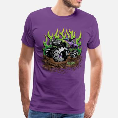 Mud Bogging Mud Truck Green Flame - Men's Premium T-Shirt