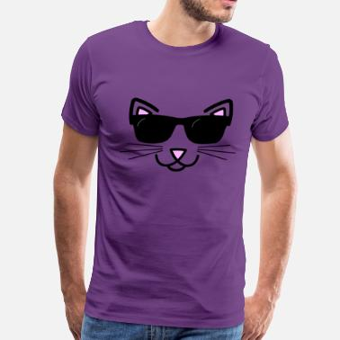Pink Nose Cool Cat With Sunglasses - Men's Premium T-Shirt