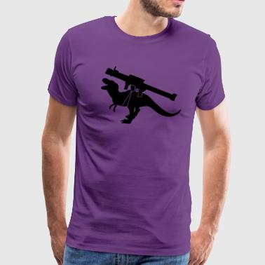 tyrannosaurus dinosaur monster roaring with a rocket launcher weapon - Men's Premium T-Shirt