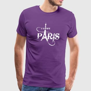 I Love Paris Grunge white - Men's Premium T-Shirt