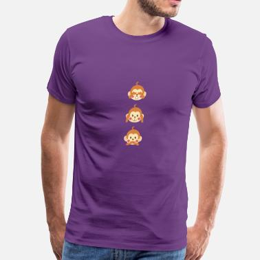 Three Wise Monkeys Monkey Emoticon Hear Speak See No Evil Three Wise - Men's Premium T-Shirt
