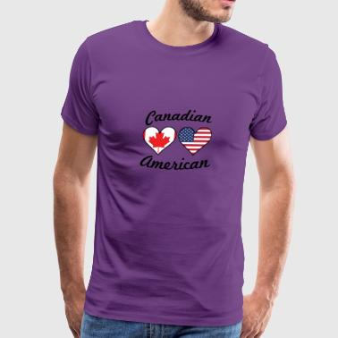 Canadian American Flag Hearts - Men's Premium T-Shirt