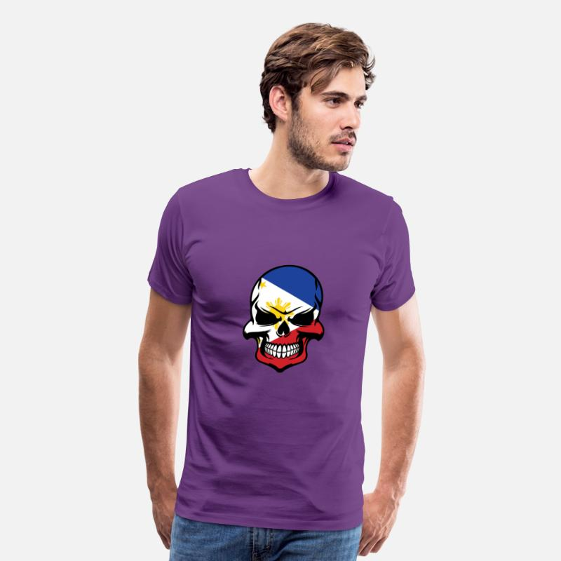 Filipino T-Shirts - Filipino Flag Skull Cool Philippines Skull - Men's Premium T-Shirt purple